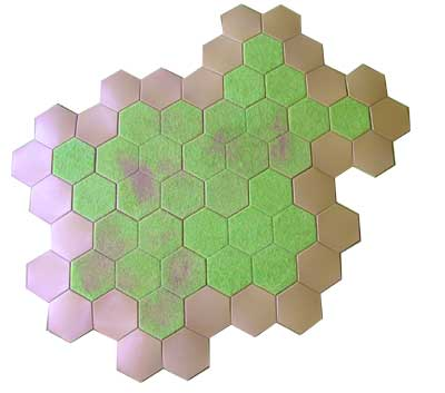 59 hex hill using hexon boards ,single hexes and slopes