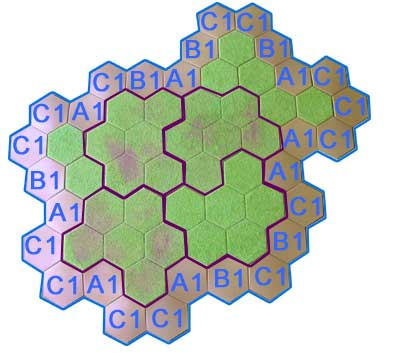 59 hex hill using Hexon boards, single hexes and slopes